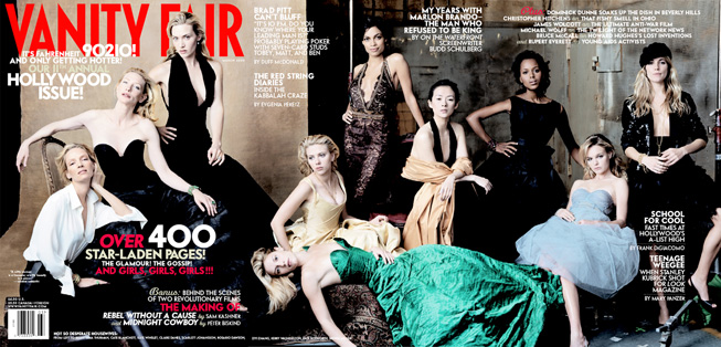 From left, Uma Thurman, Cate Blanchett, Kate Winslet, Claire Danes (reclining), Scarlett Johansson, Rosario Dawson, Ziyi Zhang, Kerry Washington, Kate Bosworth, and Sienna Miller. Photograph by Annie Leibovitz; styled by George Cortina.