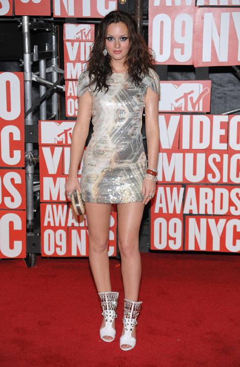 leighton meester vma 2009 sequined dress