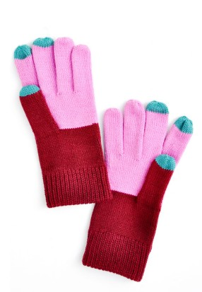 colorblock touch gloves