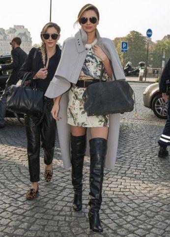 Miranda Kerr cape knee boots