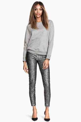 sequin pants silver