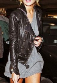 sweater dress leather jacket