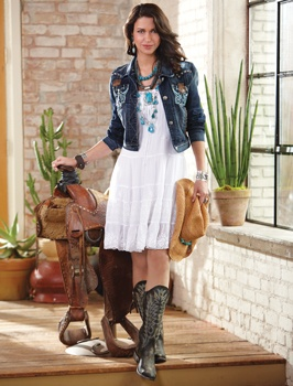 western boots and denim jacket