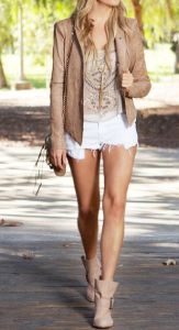 western boots and short jeans