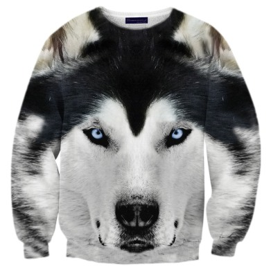 White wolf sweater