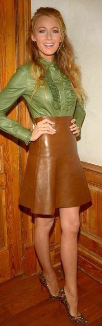 leather skirt animal print pumps blake lively
