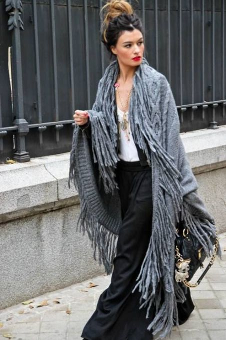 fringe long shawl
