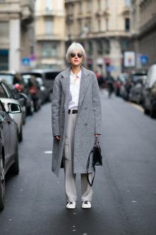 Milan street style grey