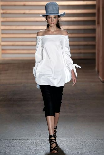 everydayfacts off the shoulder top TIBI spring 2015