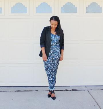 black blazer over floral print jumpsuit high heel shoes