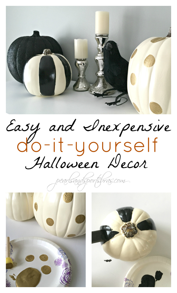 DIY Painted Halloween Pumpkins | check out the step-by-step at www.pearlsandsportsbras.com |