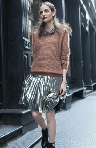 everydayfacts metallic pleated skirt