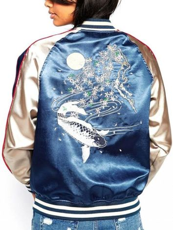 everydayfacts satin bomber jacket
